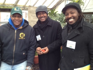 From L to R: Will Allen-CEO of Growing Power, Sylvain Bukasa, and Anthony Munene